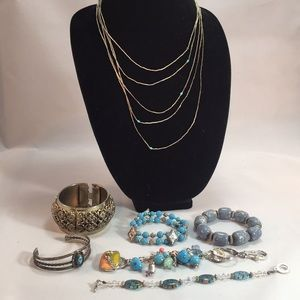 7 vintage blue turquoise jewelry items P1574